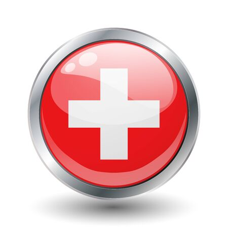 Switzerland, shiny button flag  photo