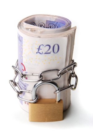 Locked money as a symbol of savings and guarantee