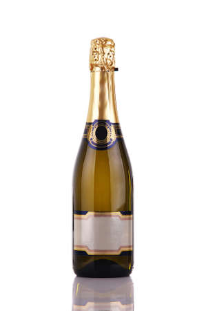 gold capped: Champagne bottle with blank label
