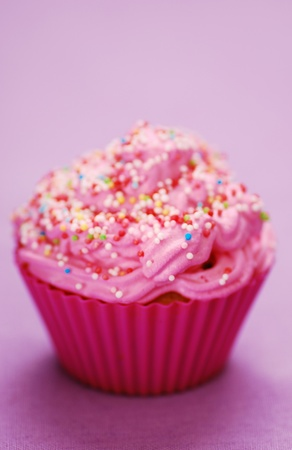 chocolate sprinkles: Pink cupcake birthday surprise