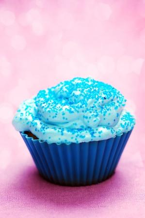 Blue cupcake birthday surprise  photo