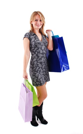 Sexy shopping girl isolated on white background Stock Photo - 9061488