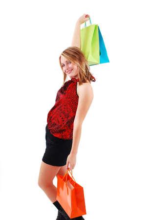 Sexy shopping girl isolated on white background Stock Photo - 9061449