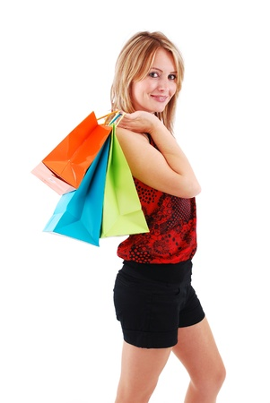 Sexy shopping girl isolated on white background Stock Photo - 9061225