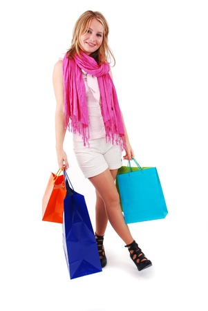 Sexy shopping girl isolated on white background Stock Photo - 9061144