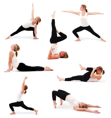 Collection of a beautiful girl practicing yoga on isolated white background Stock Photo