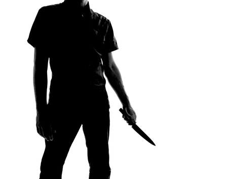 silhouette of a man with knife, isolated on white background