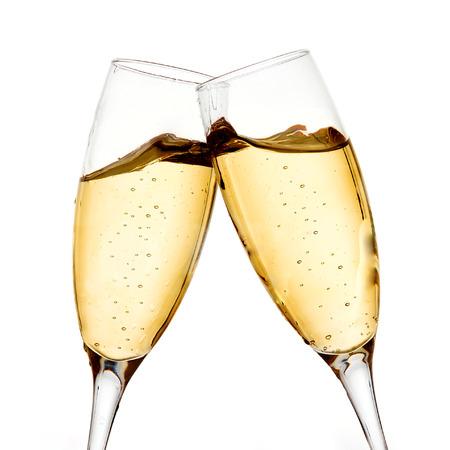 transparen: Dos vidrios elegantes del champán Foto de archivo