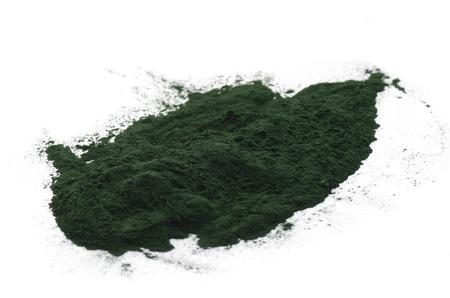 spirulina: Spirulina powder isolated on white