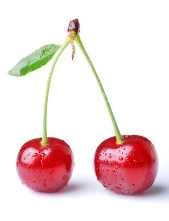 Two cherries against white