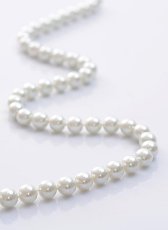 Close-up image of a pearl necklace
