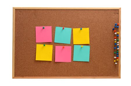 Blank, colourful notes pinned into brown corkboard Stok Fotoğraf - 48562347