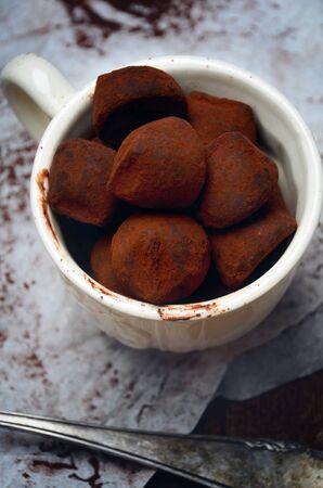 truffle: Truffle chocolate candies with cocoa powder Stock Photo