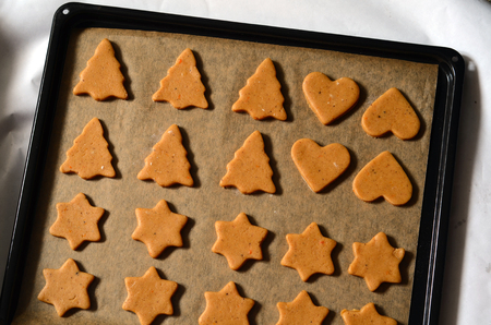 gingerbread cookies: Baking ingredients for Christmas cookies and gingerbread Stock Photo