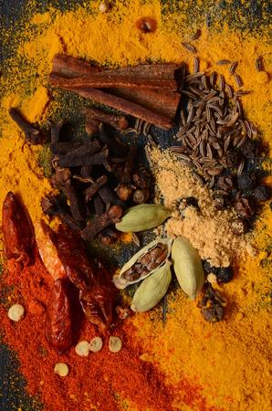 garam: Ingredients for a homemade Garam Masala spice mixture