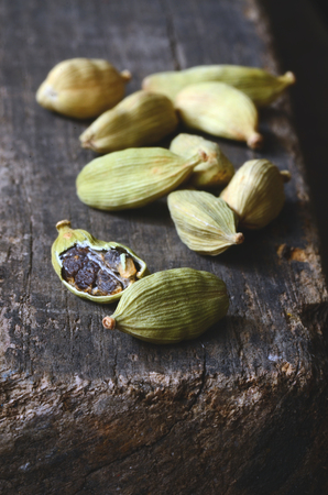 cardamon: Close up of green cardamon pods - indian spice