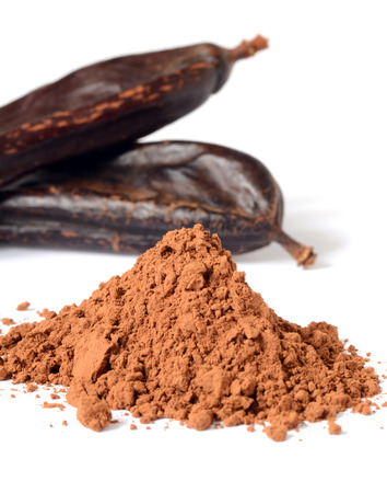 carob: Ripe carob pods and carob powder, can be used as a substitute for cocoa
