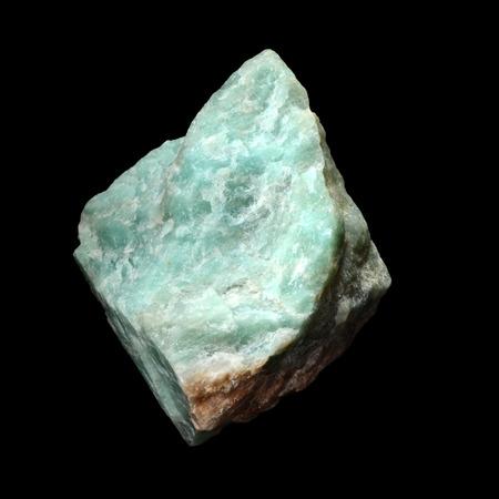 amazonite: Raw Amazonite stone,  isolated on black background Stock Photo