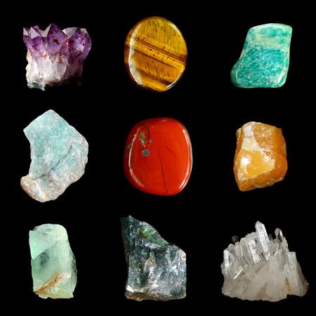 fluorite: Set of various mineral rocks and stones,  Amethyst, Tiger Eye, Amazonite, Raw Amazonite,  Red Jasper, Yellow calcite, Green Fluorite, Moss Agate,  Quartz Crystal