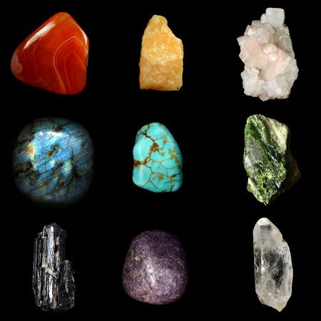 calcite: Set of various mineral rocks and stones,  Red Chalcedony, Yellow Calcite, Apophyllite, Labradorite, Turquoise, Green Serpentine, Black Tourmaline, Lepidolite, Quartz Crystal