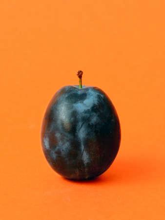 ciruela pasa: ciruelas maduras única, o de ciruela en el fondo de color naranja