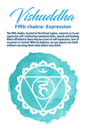 sanskrit: Vishuddha Chakra symbol on a blue watercolor dot, vector illustration. The Throat Chakra