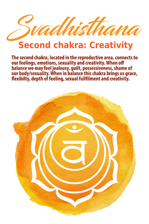 sanskrit: Swadhistana Chakra symbol on a watercolor dot, vector illustration. The Sacral Chakra Illustration