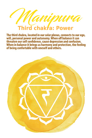 manipura: Manipura Chakra symbol on a yellow watercolor dot, vector illustration. The Solar Plexus Chakra Illustration