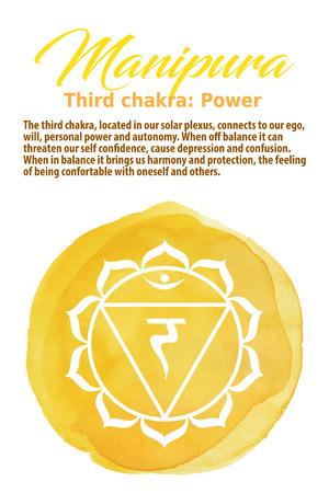Manipura Chakra symbol on a yellow watercolor dot, vector illustration. The Solar Plexus Chakra Illustration