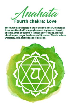 anahata: Anahata Chakra symbol on a green watercolor dot, vector illustration. The Heart Chakra