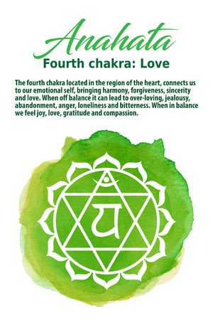 Anahata Chakra symbol on a green watercolor dot, vector illustration. The Heart Chakra