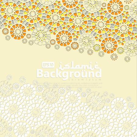 Greeting Card for Ramadan Kareem and Ed Mubarak. Islamic ornamental of mosaic background vector illustration Ilustração Vetorial