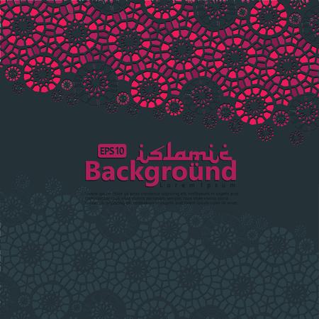 Greeting Card for Ramadan Kareem and ed Mubarak. Islamic ornamental of mosaic background vector illustration