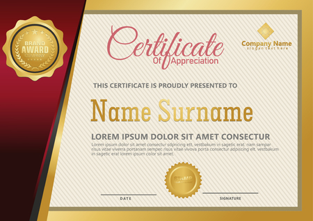 Elegant certificate template vector with luxury and modern pattern background Stok Fotoğraf - 118635370