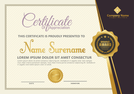 Elegant certificate template vector with luxury and modern pattern background Stok Fotoğraf - 118635535