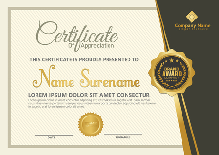 Elegant certificate template vector with luxury and modern pattern background Stok Fotoğraf - 118635538