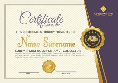 Elegant certificate template vector with luxury and modern pattern background Stok Fotoğraf - 118635548