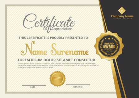 Elegant certificate template vector with luxury and modern pattern background Stok Fotoğraf - 118635549