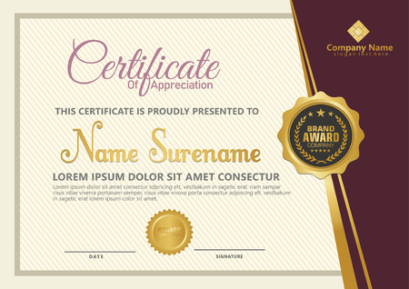 Elegant certificate template vector with luxury and modern pattern background Stok Fotoğraf - 118635551