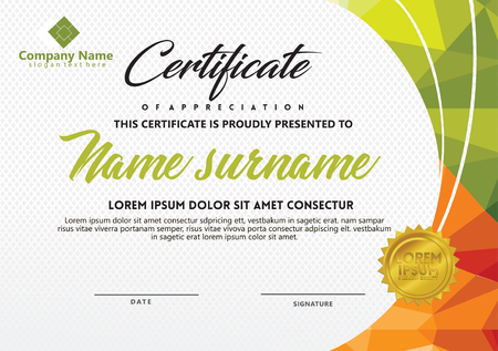 certificate template with polygonal style and modern pattern vector for business activities, education, training, seminars, workshops as a form of appreciation, awards, agreements and others