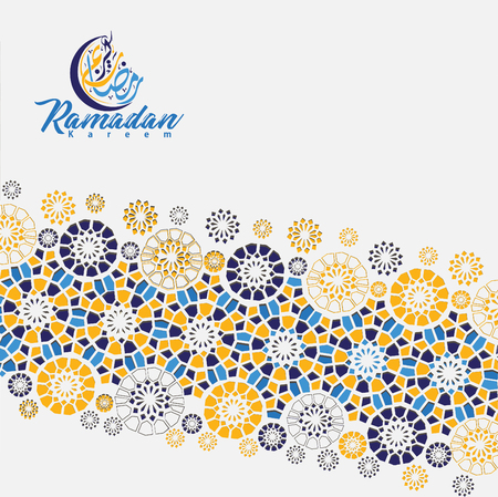 Arabic arabesque design greeting card for Ramadan Kareem, Ed Mubarak and other users Islamic event. Background vector illustration