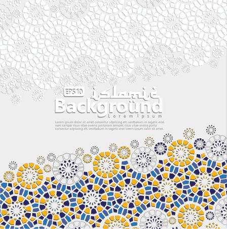Arabic arabesque design greeting card for Ramadan Kareem, Ed Mubarak and other users Islamic event. Background vector illustration