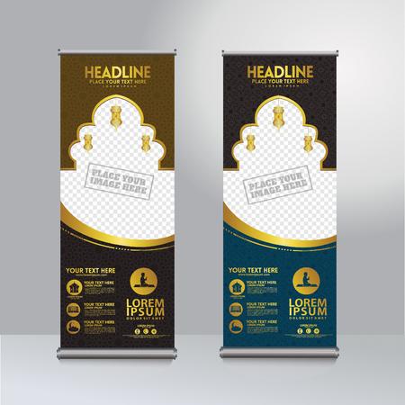 Roll up banner ramadan kareem moment design template vector, modern publication display