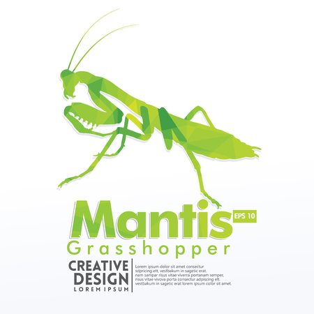 Mantis Geometric paper craft style, for sticker cutting, poster, card, education for children, publication, icon and publication
