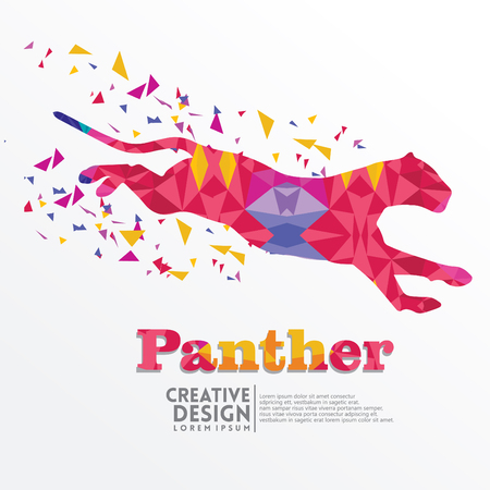 Panther Geometric paper craft style, for sticker cutting, poster, card, education for children, publication, icon and publication
