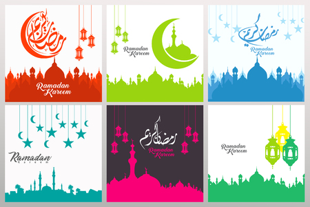 Set of ornate square greeting cards, banner, sticker and others users with ramadan calligraphy and ornament swirl frame, for event publication on moment ramadan  イラスト・ベクター素材