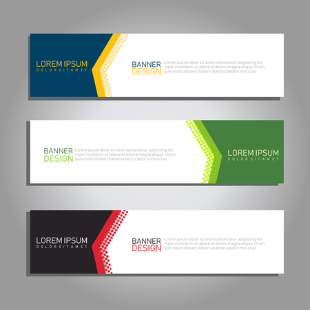 3 set vector abstract geometric design banner web template with halftone gradation style