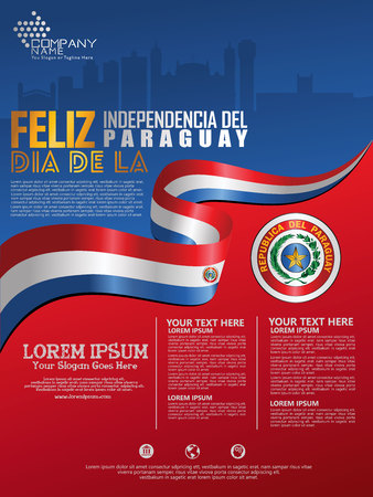 Celebrating Paraguay Independence Day. Abstract waving flag on Poster, flayer and brochure background template