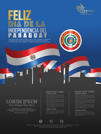 Celebrating Paraguay Independence Day. Abstract waving flag on Poster, flayer and brochure background template Иллюстрация