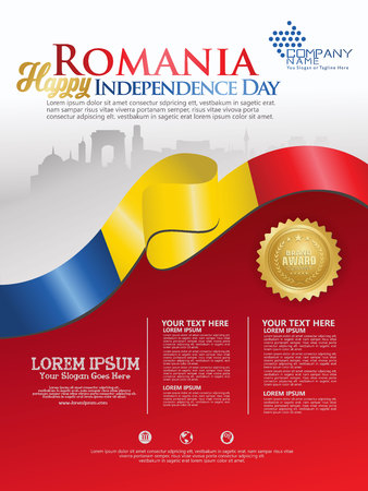 Celebrating Romania Independence Day. Abstract waving flag on Poster, flayer and brochure background template